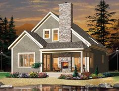 Plan W22320DR: Country, Canadian, Metric, Traditional, Narrow Lot, Southern, Cottage House Plans & Home Designs Small Cottage House Plans, Small Cottage Homes, Craftsman Style House Plans, Small Lake Houses, Lake Cottage, Small Homes, Small Dream Homes, Narrow Lot House Plans, Waterfront Cottage
