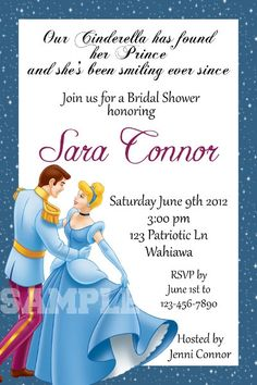 Cinderella Bridal Shower Invite Not This Corny Though Princess Showers Disney