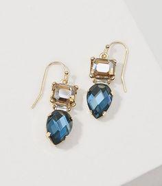 LOFT Multifaceted Crystal Drop Earrings in ocean saphire