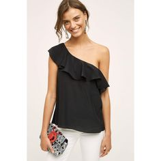 Maeve Silk One-Shoulder Blouse ($98) via Polyvore featuring tops, blouses, black, off one shoulder tops, one shoulder tops, one shoulder blouse, one shoulder silk top and one sleeve blouse