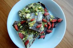 Chocolate Bark with Dried Goji Berries and Crushed Pistachios- aphrodisiac dessert for date night