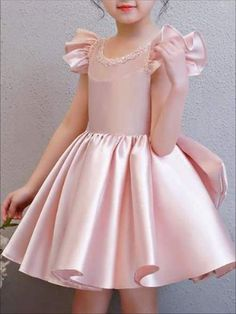 Girls Pink Beaded Flutter Sleeve Special Occasion Dress with Large Bow Little Girl Dresses Beaded Bow Dress Flutter Girls Large Occasion Pink Sleeve special Frocks For Girls, Kids Frocks, Dresses Kids Girl, Kids Outfits, Flower Girl Dresses, Frock Design, Bow Design, Baby Dress, Pink Dress