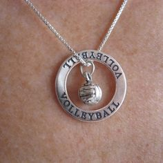 Sterling Silver Volleyball Affirmation Band and Charm Necklace