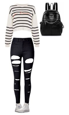 """""""Untitled #205"""" by gwboobear on Polyvore featuring WithChic, Topshop and Converse"""