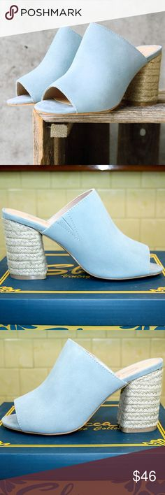 """️ Raffia Heel Powder Blue Suede Leather Mule NIB These effortlessly chic, ultra comfortable open toe mules are made of genuine suede leather in trendy & pretty pastel blue, and feature a 3"""" raffia wrapped block heel. They also have a comfy padded footbed, flexible sole, and an easy slip-on peep toe slide sandal design. Raffia is similar to jute (like used for espadrilles) but made from a palm tree native to tropical Africa. From the Sbicca Vintage Collection, made in USA.  Brand new in box…"""
