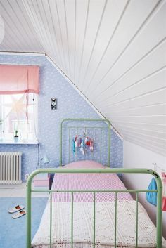 Love The Pink Blue Wrought Iron Bed Roman Shade Slanty