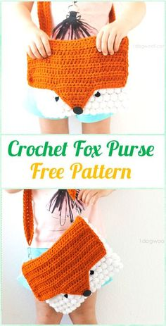 The Stitching Mommy: Crochet Fox Purse Free Pattern Bag Crochet, Crochet Shell Stitch, Crochet Gratis, Crochet Fox, Crochet Handbags, Crochet Purses, Purse Patterns Free, Crochet Patterns, Free Pattern