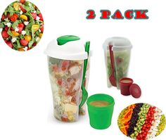 2X Salad Cup To Go Container Fork Dressing Serving Shaker Lid Bowl Lunch Box Set #Dependable