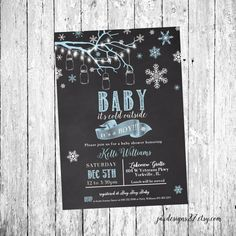 Baby its Cold Outside Invitations - Printed Cards - Printable Winter Baby Shower - Snowflake Baby Shower - Chalkboard Baby Shower