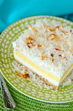 No Bake Coconut Cream Cheesecake Dessert. Perfect for summer, no heating up the kitchen!