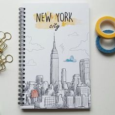 Writing journal, spiral notebook, bullet journal, cute journal diary, sketchbook, travel journal, vacation, blank lined grid - New York City