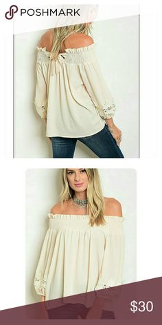 """Live in Love"" Off-the-Shoulder blouse Stunning back tie detail. Lace embellished sleeves. 100% polyestor. Great elasticized stitching for perfect fit across top of blouse. Various sizes. NWT. BOUTIQUE. (#G2987) Tops Blouses"