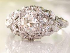 European Cut Half Carat Diamond Engagement by LadyRoseVintageJewel, $2,289.99