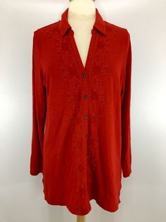 dca61df74105e J. Jill Tunic Top Size L Red Cotton Button Down Long Sleeve Embroidered