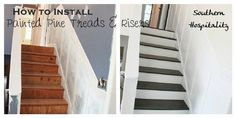Before & After Painted Pine Stairs from SouthernHospitalityBlog.com southern hospitality, pines, paint stair, basement stairs, project gallery, hous, paint pine, painted stairs, diy projects