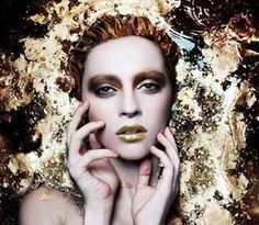 Gold pigment water bath tub shoot editorial Makeup fashion photography