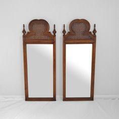 "55"" hollywood regency CANE & FINIAL tall MIRROR hanging mid century chippendale  