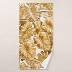Aloha Tropical Gold Glitter Monstera Leaves Bath Towel - metallic style stylish great personalize