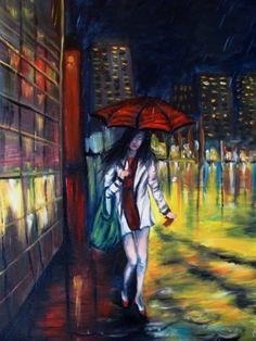 Yağmurlu bir gecede yanlız