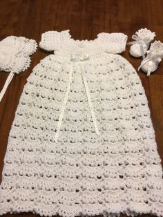 Christening gown, hat, bonnet, booties by TheNanimalShop on Etsy