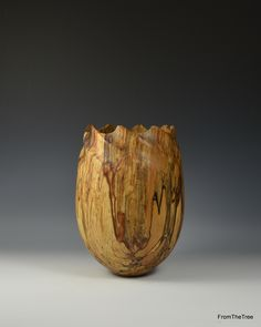 Spiral carved spalted beech vessel. made by George Watkins