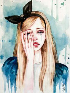 Sad Alice in wonderland watercolor painting sketch fan art drawing