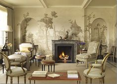 I have always loved Grisaille painted murals. Grisaille is a monochrome painting using shades of gray or (sometimes brown). Grisaille was used by Renaissance artist to depict or imitate relief sculpture paintings. Cozy Fireplace, Fireplace Design, Mounted Fireplace, Fireplace Ideas, Fireplace Mantels, Fireplaces, Living Room Murals, Wall Murals, Mural Art