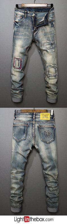 Men's Mid Rise Micro-elastic Straight Jeans Pants