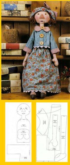 pattern  ..♥..Nims..♥ Doll Clothes Patterns, Doll Patterns, Doll Toys, Baby Dolls, Raggedy Ann And Andy, Sewing Dolls, New Dolls, Soft Dolls, Diy Doll