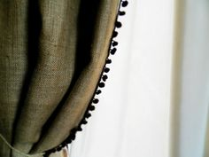 "Burlap Curtain Panel 40"" x 40""  with pom fringe to the inner part of the curtain on Etsy, $20.00"