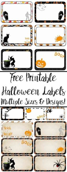 Multiple sizes x 3 x 1 and 3 x multiple designs. Great for labeling food, drinks, favors, etc. Halloween Names, Halloween Favors, Halloween Treat Bags, Vintage Halloween, Halloween Food For Party, Halloween Kids, Halloween Crafts, Halloween Letters, Halloween Birthday