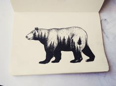New Tattoo Tree Sketch Nature Ideas Bear Tattoos, Elephant Tattoos, Animal Tattoos, Sketch Style Tattoos, Tattoo Sketches, Drawing Sketches, Sketching, Diy Tattoo, Tattoo Tree