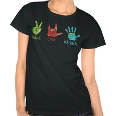 Peace Love Massage Hands - Black Shirts