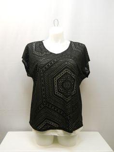 PLUS SIZE 1X Womens 2PC Sheer Knit Top TRU SELF Solid Black Top White Tank Pullo #TruSlef #KnitTop #Clubwear