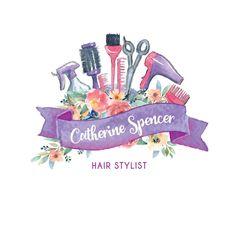 Vorgefertigte feminin Logo in ultra violett und rosa für kleine Unternehmen: Haare, Styling Salon oder Friseur, mit Ihren Name\tagline in digitaler Form angepasst. ♥ ERHALTEN SIE: · 1 PNG-Datei, transparenten Hintergrund · 1 JPG-Datei, weißer Hintergrund (Web und print-Qualität)