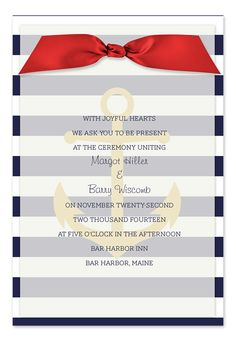 This classic layered invitation is perfect for any nautical themed occasion! The sheer vellum top layer features your personalization and the patterned bottom layer features a gold anchor over navy stripes. A satin ribbon is included for securing the top and bottom layers and several ribbon colors are available. Customer assembly of the ribbon is required. Coordinating reception, respond, thank you cards and envelope lining are available.