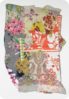 Debra Weiss, Stitch Work #2. Collaged fabric works. Carefully selected fabrics from Debra's extensive collection of silks and vintage scarves are layered one upon another. The fabrics are then hand stitched together over weeks and sometimes months.
