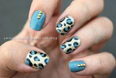 Blue Cheetah Print and gold studs
