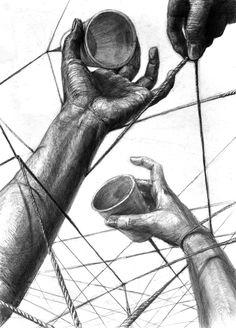 金沢美術工芸大学の視覚デザイン目指して「手」のデッサン頑張ってます!「ネットワーク」をテーマに描きました。糸電話の糸が手に絡まって不自...
