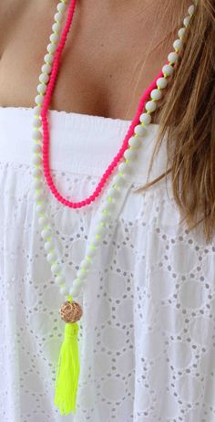 Neon Yellow Necklace - White Beaded Necklace - Tassel Necklace - Long Necklace on Etsy, $30.00