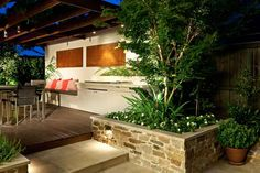 Perfect mix of textures on small wall, porch, back wall with bench