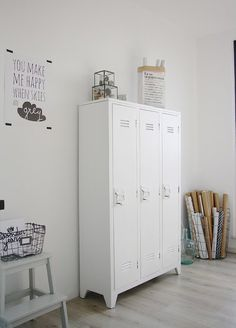 contemporary home office by Holly Marder / poster by PAQHUIS.nl – home office organization files Vintage Lockers, Metal Lockers, Industrial Home Offices, Industrial House, Vintage Industrial, Interior Inspiration, Workspace Inspiration, Bedroom Inspiration, Home And Living