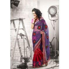 Red with Purple color Jacquard saree