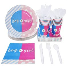"""Package IncludesGender Reveal Party Disposable Paper Plates Napkins Cups Set of 24 """"Boy or Girl"""" x 1Item DescriptionGender Reveal Party Disposable Paper Plates Napkins Cups Set of 24 """"Boy or Girl""""Juvale Gender Reveal Party Supplies - Serves 24 - """"Boy or Girl"""" Disposable Dinnerware Paper Plates, Napkins, and Cups, Pink and BlueSERVE UP TO 24 PEOPLE: Includes enough tableware for guests; contains 24 of each of the following: Paper Plates, Napkins and Cups.HIGH QUALITY MATERIAL: Plates are thick an Dinosaur Party Supplies, Dinosaur Party Favors, Gender Reveal Party Supplies, Reveal Parties, Sparkle Party, Girl Baby Shower Decorations, Party Napkins, Baby Boy Or Girl, Party Packs"""