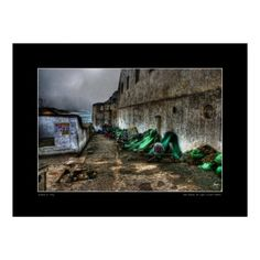 Surreal image of net repair being done outside the walls of the Cape Coast Castle in Cape Coast Ghana. Open edition fine art prints can be purchased here:   http://fineartamerica.com/featured/repairing-nets-at-cape-coast-castle-wayne-king.html