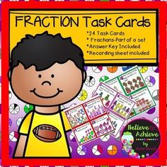 Fraction Task Cards-24 cards (Fractions-Parts of a Set)This colorful set of 24 task cards with fraction questions with pictures representing parts of a set is a wonderful addition to your lessons! I've included a recording sheet and answer key, too!
