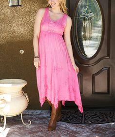 Another great find on #zulily! Pink Embroidered Handkerchief Dress #zulilyfinds