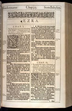 Ezra Chapter 1 Original 1611 Bible Scan, courtesy of Rare Book and Manuscript Library, University of Pennsylvania