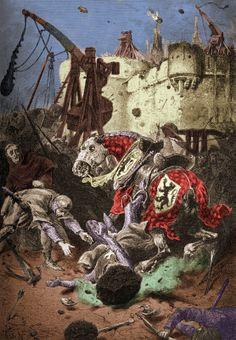 La mort de Simon de Montfort au cours du siège de Toulouse durant la croisade des Albigeois.  Dessin de A. DE NEUVILLE.