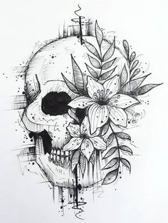 ThisnThat - Sites new Dark Art Drawings, Tattoo Design Drawings, Pencil Art Drawings, Art Drawings Sketches, Easy Drawings, Cool Skull Drawings, Tattoo Sketches, Skull Coloring Pages, Skull Art